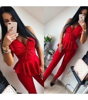 Jumpsuit Long Shoulder and Waist Ruffles
