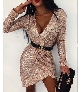 Dress Sequin Long Sleeve Skirt Cross