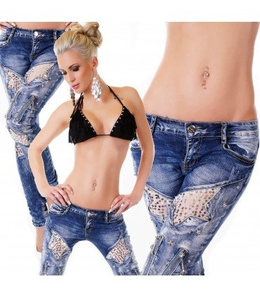 Jeanss Contul Sequins And Zips