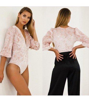 Body Velvet V-Neckline Sleeveless Shirred
