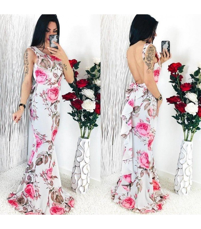 Long Dress Print Open Back With Tie