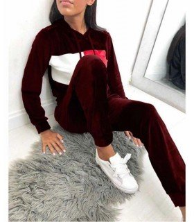 Set Tracksuit Hoodie and Pants Velour