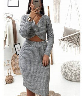 Set Skirt And knit Top