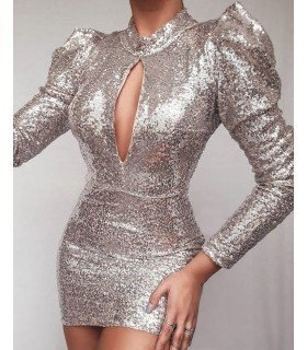 Dress Sequins Long Sleeve Open Chest