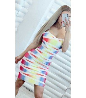 Dress Bandage Multicolor Strapless