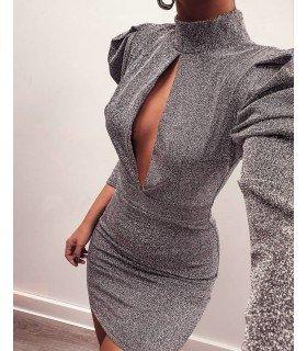 Vestido Lurex Escote Abierto