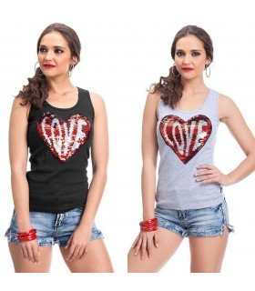 T-shirt Without Sleeve Canale Heart LOVE Sequins
