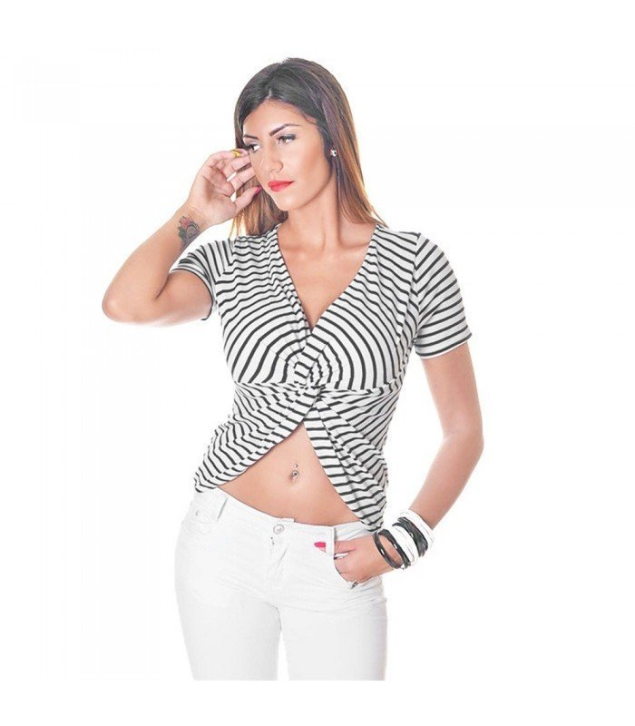Top Canale Stripes Crossed