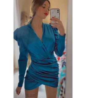 Dress Satin Long Sleeve Skirt Cross