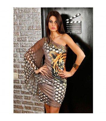 Dress Lycra Patterned Tiger, A Sleeve Of Gauze