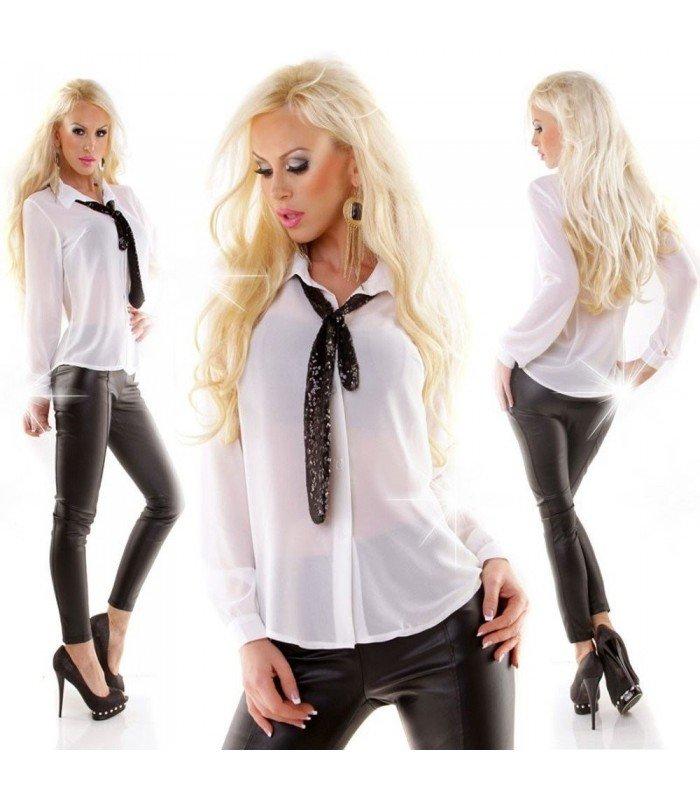 Blouse Chiffon Tie Sequins