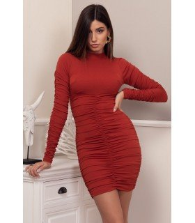 Dress Canale Ruched Long Sleeve