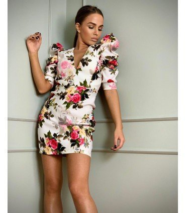 Dress Patterned Flowers Sleeve Puff