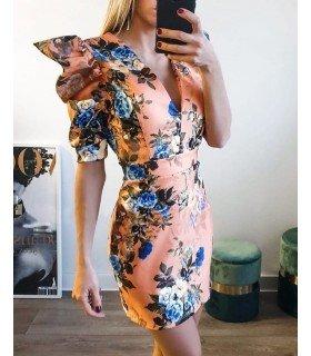 Vestido Com Estampa De Flores Manga Abullonada