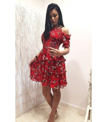 Dress Floral Chiffon Skirt Ruffled
