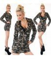 Dress Long Sleeve Print Camouflage